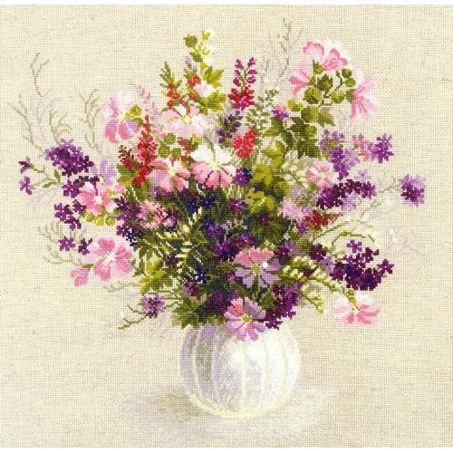Jarrón con Lilas y Flores Rosas