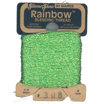Hilo Glissen Gloss Rainbow  Blending Thread Verde Lima Brillante 308