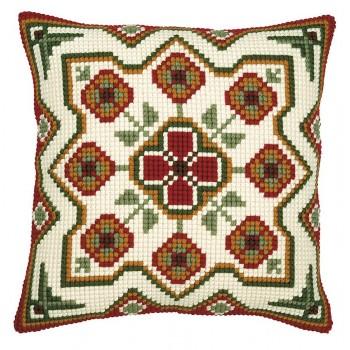 Cojín Geométrico Rojo y Verde II