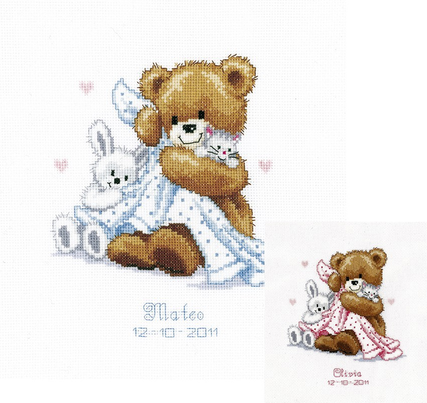 Birth announcement cross stitch kit Vervaco