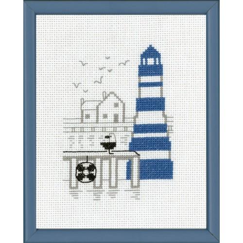 Faro en Azul con Gaviota