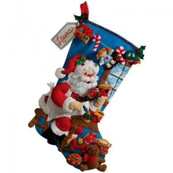 Bota Fieltro Santa en el Taller de Juguetes