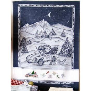 Paño de Cocina Navidad Santa Azul Marino