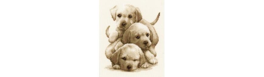 Kits de punto de cruz de perros y cachorros