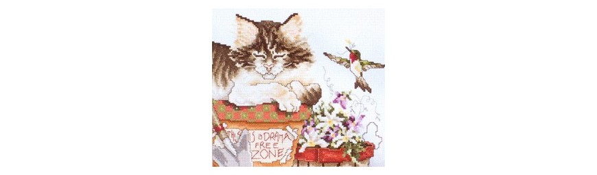 Gráficos de gatos para bordar en punto de cruz.
