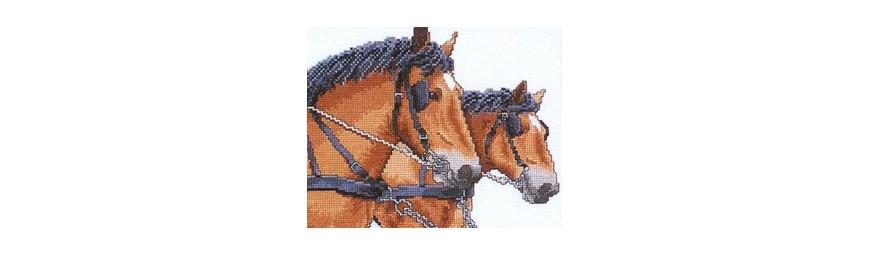 Gráficos de caballos para bordar en punto de cruz.