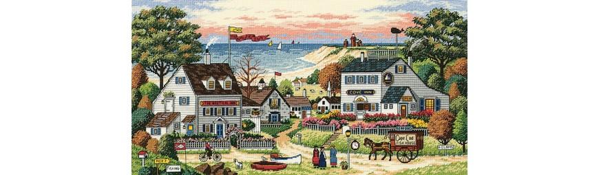 Kits de punto de cruz de edificios, casas, fachadas de tiendas