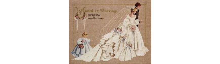 Gráficos de novios, bodas, otras celebraciones en punto de cruz.