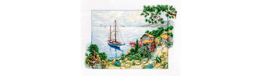 Kits de punto de cruz motivos marineros, barcos, faros