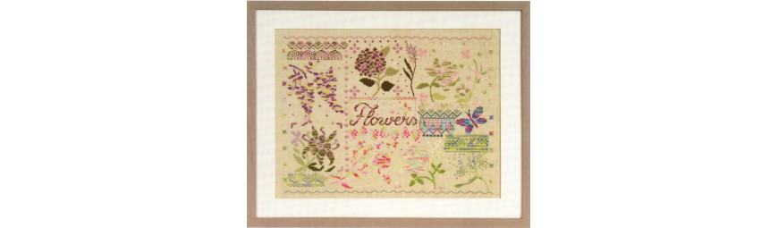 Gráficos de flores y plantas para bordar en punto de cruz.