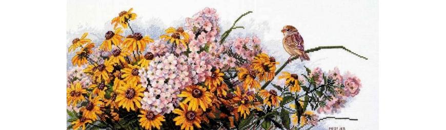 Kits de punto de cruz de flores y plantas
